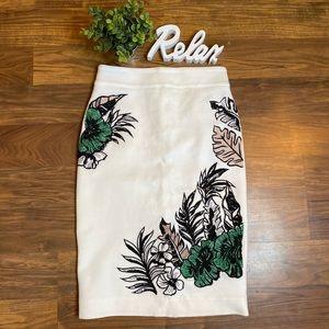 Anthropologie Animale embroidered midi skirt